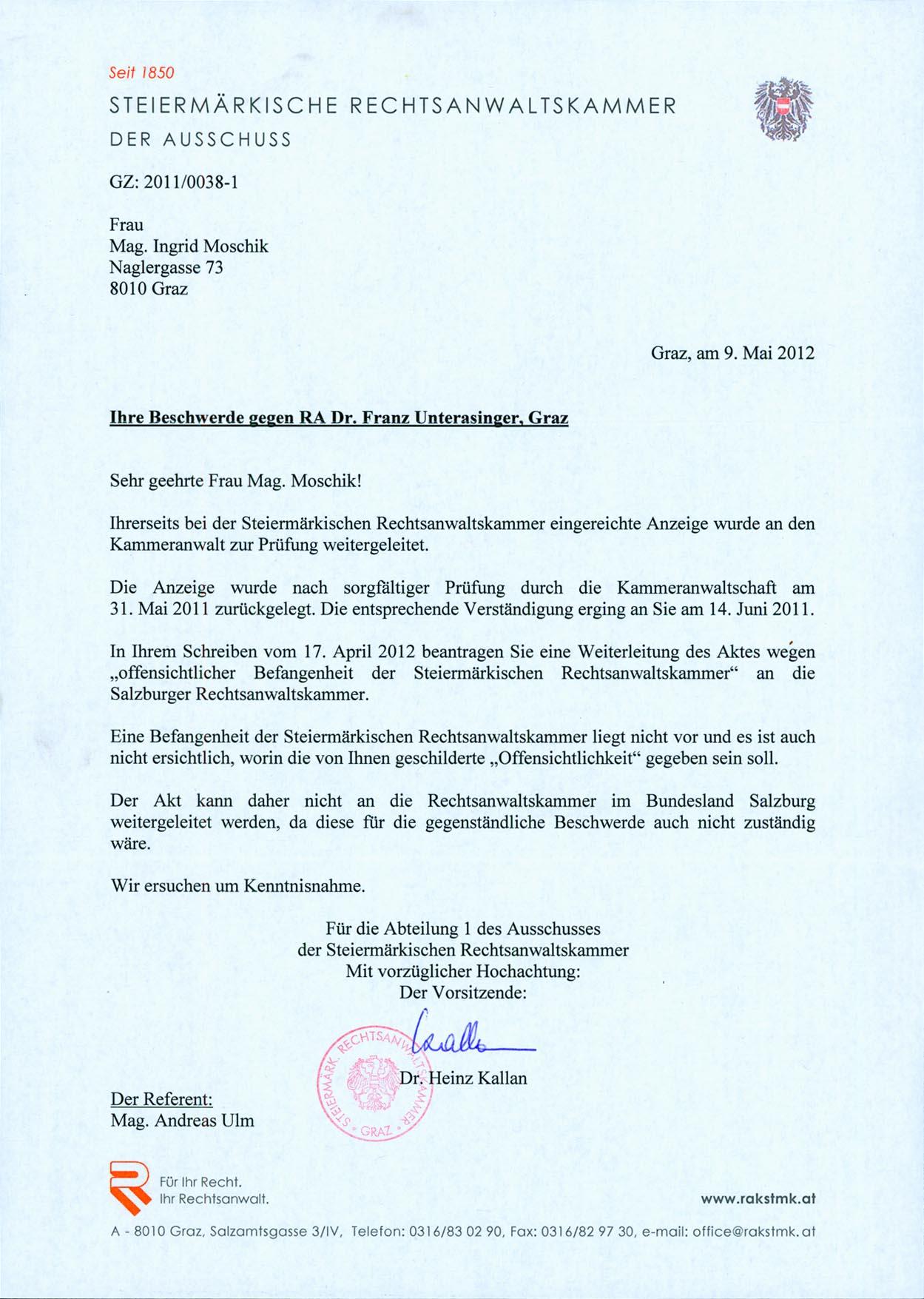 """Ist """"Ne bis in idem"""" das Argument der RAK Steiermark im """"Grazer"""
