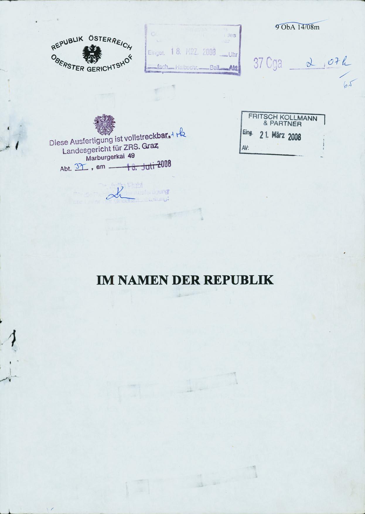 fener Antrag auf überprüfung des OGH Urteils GZ 9ObA14 08m unter