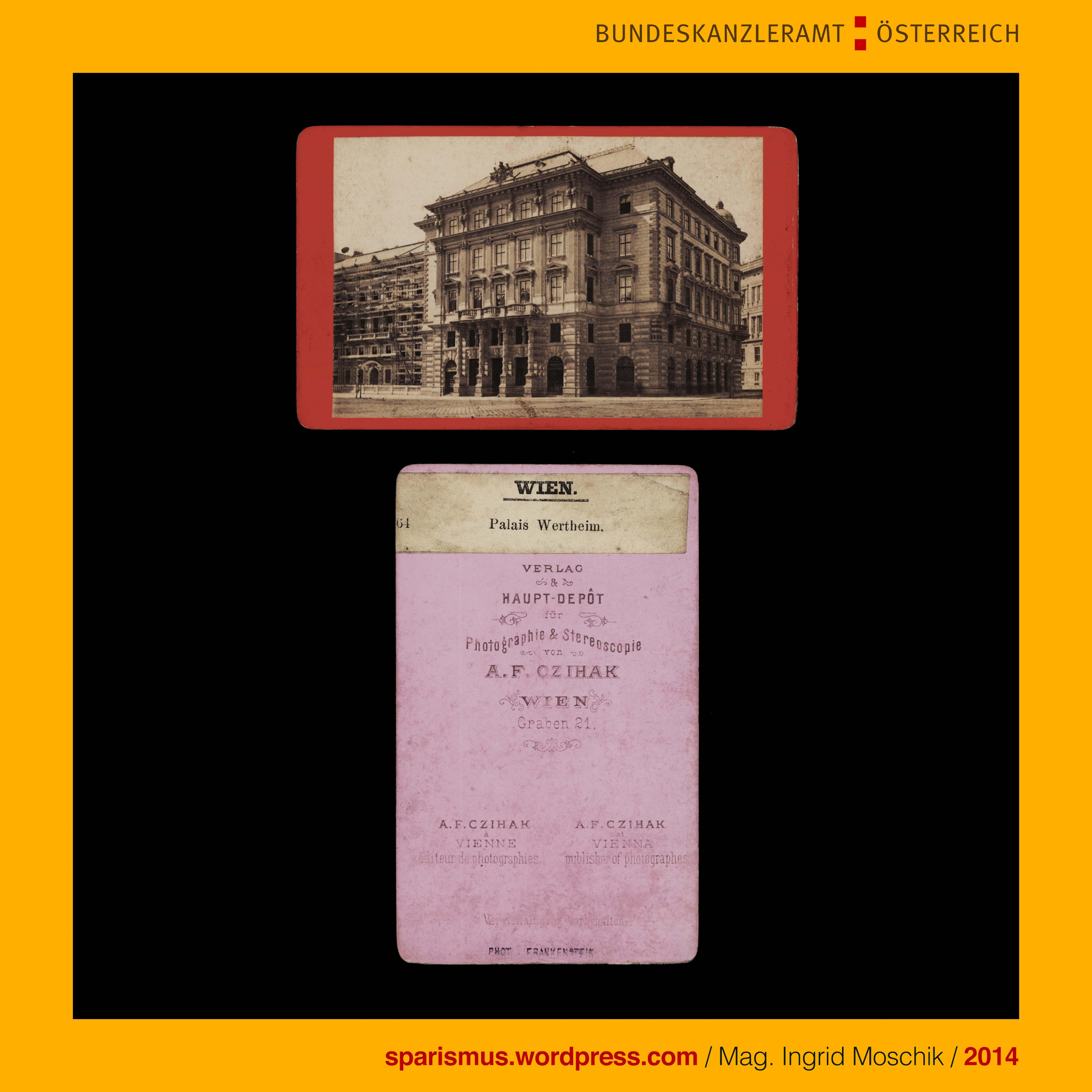 A F Czihak verleger 64 Wien Palais Wertheim um 1880