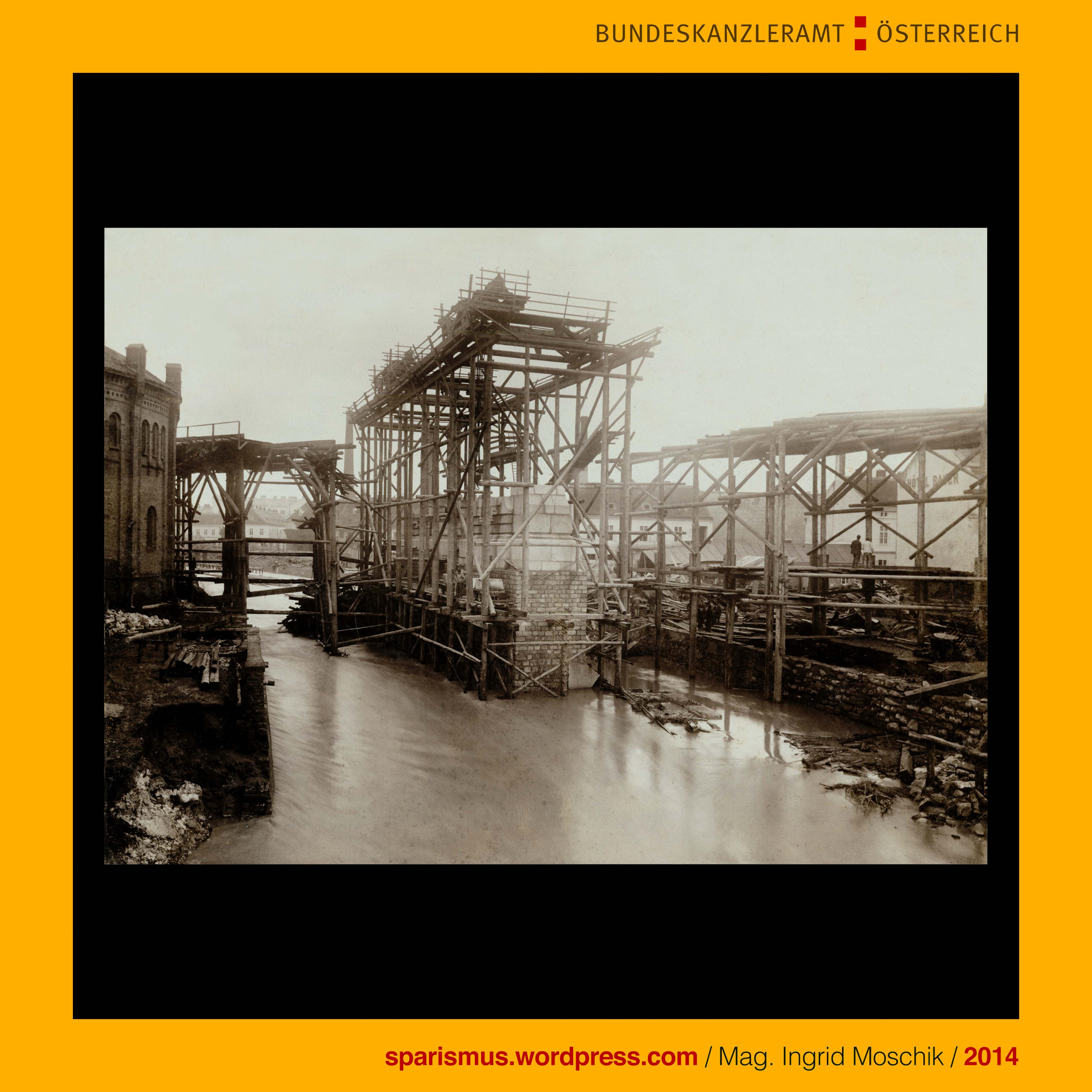 Gustav Broser, Wien, Verklausung beim Gas-Steg in Meidling, Brücke ...