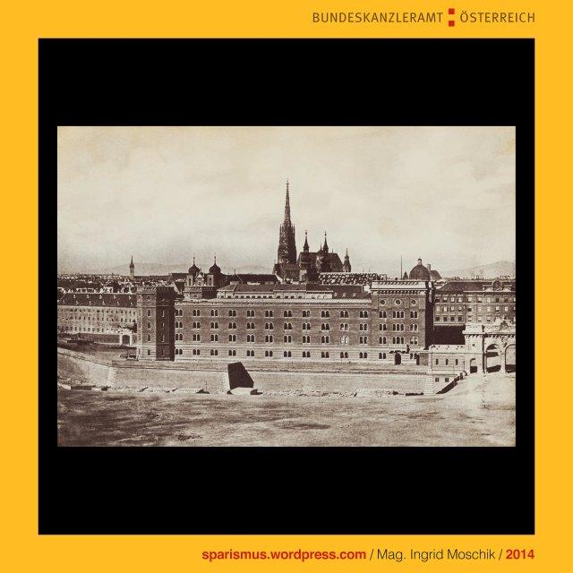 k.k. Hof- und Staatsdruckerei (1804-1918), Österreichische Staatsdruckerei (1918 bis heute), Charles Scolik sen. (1854 Wien – 1928 Wien), k.u.k. Hof-Photograph (1892), Wien I. Innere Stadt, Dominikanerkirche (1630 bis heute), Dominikanerbastei und Stubentor, Wien I. Innere Stadt, Franz-Josefs-Kaserne, Franz-Joseph-Kaserne (1857-1900), Franz-Josefs-Tor (1857-1900), Franz-Josefs-Kai (1. Mai 1858 bis heute), Wien I. Innere Stadt, Stadtgraben, Schottentor, Mölker Bastei, Wien I. Innere Stadt, Wienkanal, Wien II, Leopoldstadt, Untere Donaustrasse (1857 bis heute), Kaffeehaus Jüngling, Praterstrasse (1862 bis heute), Gasthof Zum Goldenem Lamm, Kaffeehaus Fetzer, Wien I. Innere Stadt, Salzgries, Salzgries-Tor, Salzgries-Kaserne (1745-1880), Salztorgasse, Kirche Maria am Gestade (1200 bis heute), Wien I. Innere Stadt, Wien VIII., Josefstadt, Josefstädter Glacis, kurz Am Glacis (1826-1862), Am Paradeplatz (1862-1872), Rathausstrasse (1872-1877), Landesgerichtsstrasse (1877 bis heute) , Kaiser-Franz-Joseph-Militärparade am 18. August 1860, Wien I. Innere Stadt, Mölkerbastei Mölker Bastei (1531-1871), Schottenbastei, Schottentor, Benediktinerabtei Unserer Lieben Frau zu den Schotten, Schottenstift (1155 bis heute), Wien I. Innere Stadt, Stubenbastei, Stubentor, Weiskirchnerstrasse (1932 bis heute), Weiskirchnerstrasse (äussere Wollzeile), Wienfluss, Stubenbrücke, Wien III. Landstrasse, Landstrasser Hauptstrasse, Verbindungsbahn (1857 bis heute), The Austrian Federal Chancellery, Bundeskanzleramt Österreich, BKA, .KUNST bundeskanzleramt, www.art.austria.gv.at, Ballhausplatz 2, Sparismus, Sparen ist muss, Sparism, sparing is must, Art goes politics, Zensurismus, Zensur muss sein, Censorship is must, Mag. Ingrid Moschik, Staatsmündelkünstlerin, Mündelkünstlerin, Konzeptkünstlerin, Politkünstlerin, Reformkünstlerin, 38000-Künstlerin, 38000-artist, art-ist-38000, Konzept-38000-Künstlerin, Kunstleitzahl 38000, KLZ 38000, art routing code 38000, ARC 38000