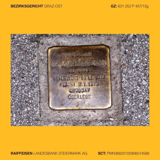 Mag. Ingrid Moschik (*1955 Villach – 999), Kunstleitzahl 38000, KLZ 38000, Gerichtsleitzahl 38000, GLZ 38000, Bankleitzahl 38000, BLZ 38000, Spurensicherung 38000, Street photography 38000, Street Archeology 38000, Graffiti Graz, Graffiti 38000, Graffiti change the world, occupy art 38000, copycat art 38000, Graz IV. Lend, Afritschgasse 30, DR. MAX STEIGMANN, Jg. 1895, deportiert 1938, Flucht nach Uruguay 1939, überlebt, Graz I. Innere Stadt, Paulustorgasse 8, FRANZ BARANYAI, Jg. 1891, deportiert, ermordet in Auschwitz 1943, Graz II. Leonhard, Elisabethstrasse 18, ALFRED MITKROIS, Jg. 1897, verhaftet 1939, verschiedene KZ, ermordet in Dachau 1941, Graz III. Geidorf, Schröttergasse 7, BRUNO KURZWEIL, Jg. 1891, GISELA KURZWEIL, Jg. 1900, ADELE KURZWEIL, Jg. 1925, ermordert in Auschwitz 1942, HERBERT EICHHOLZER, Jg. 1903, hingerichtet 1943, Graz VI. Jakomini, Jakoministrasse 10, FRANZ HAIM DORTORT, Jg. 1897, ANNA CHANNA DORTORT, Jg. 1898, BLANKA DORTORT, Jg. 1924, LEO DORTORT, Jg. 1928, ermordet oder vertrieben 1939-42, Graz VI. Jakomini, Jakoministrasse 10, Graz VI. Jakomini, Leitnergasse , ISRAEL PRUCKER, Jg. 1884, ETTEL PRUCKER, Jg. 1886, unfreiwillig verzogen 1940 Wien, ermordet 1942 Maly Trostinec, Graz IV. Lend, Südtirolerplatz 10, KLEMENTINE NARODOSLAVSKY, Jg. 1897, eingewiesen 1936 Sonderkrankenhaus, verlegt, ermordet 1941 Schloss Hartheim, Graz II. Leonhard, Rechbauerstrasse 27, Hier wohnte JOSEF NEUHOLD, Jg. 1890, im Widerstand verhaftet 1941, verurteilt 1942, in Haft gefoltert, tot 1942, Graz VI. Jakomini, Grazbachgasse 41 Ecke Maygasse, Hier arbeitete ISODOR KÖRNER, Jg. 1903, enteignet 1938, Flucht 1939 Jugoslawien, Kladovo-Transport, Schicksal unbekannt, Graz V. Gries, Griesplatz - Reichengasse – Bürgerspitalgassse, GENTRIFIKATION ist KRIEG gegen die Armen. Gentrifikation 38000, Getrifizierung 38000, Yuppisierung 38000, Yuppifikation 38000,  Graz V. Gries, Stadlgasse, RIOT NOT DIENT!, GynArcho 38000, Graz V. Gries, Annenstrasse 13, DIE WELT UM 99 CENT, Ban