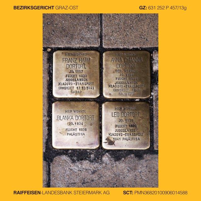 Mag. Ingrid Moschik (*1955 Villach – 999), Kunstleitzahl 38000, KLZ 38000, Gerichtsleitzahl 38000, GLZ 38000, Bankleitzahl 38000, BLZ 38000, Spurensicherung 38000, Street photography 38000, Street Archeology 38000, Graffiti Graz, Graffiti 38000, Graffiti change the world, occupy art 38000, copycat art 38000, Graz VI. Jakomini, Jakoministrasse 10, FRANZ HAIM DORTORT, Jg. 1897, ANNA CHANNA DORTORT, Jg. 1898, BLANKA DORTORT, Jg. 1924, LEO DORTORT, Jg. 1928, ermordet oder vertrieben 1939-42, Graz VI. Jakomini, Jakoministrasse 10, Graz VI. Jakomini, Leitnergasse , ISRAEL PRUCKER, Jg. 1884, ETTEL PRUCKER, Jg. 1886, unfreiwillig verzogen 1940 Wien, ermordet 1942 Maly Trostinec, Graz IV. Lend, Südtirolerplatz 10, KLEMENTINE NARODOSLAVSKY, Jg. 1897, eingewiesen 1936 Sonderkrankenhaus, verlegt, ermordet 1941 Schloss Hartheim, Graz II. Leonhard, Rechbauerstrasse 27, Hier wohnte JOSEF NEUHOLD, Jg. 1890, im Widerstand verhaftet 1941, verurteilt 1942, in Haft gefoltert, tot 1942, Graz VI. Jakomini, Grazbachgasse 41 Ecke Maygasse, Hier arbeitete ISODOR KÖRNER, Jg. 1903, enteignet 1938, Flucht 1939 Jugoslawien, Kladovo-Transport, Schicksal unbekannt, Graz V. Gries, Griesplatz - Reichengasse – Bürgerspitalgassse, GENTRIFIKATION ist KRIEG gegen die Armen. Gentrifikation 38000, Getrifizierung 38000, Yuppisierung 38000, Yuppifikation 38000,  Graz V. Gries, Stadlgasse, RIOT NOT DIENT!, GynArcho 38000, Graz V. Gries, Annenstrasse 13, DIE WELT UM 99 CENT, Bankenhimmel 38000, Graz III. Geidorf, Leechgasse, (Arnold Schwarzenegger) HASTA LA VISTA (Baby), Graz III. Geidorf, Attemsgasse 25, LOKI, Trickster, Gangster, Bankster, Graz V. Gries, Grossmarktstrasse Beginn Puchstrasse, Schlachthof, Markus Wilfing (*1966 Innsbruck - ), Fahrraddisco als lebende Skulptur, Graz V. Gries, Puchstrasse 41, SCHAUMBAD – Offenes Atelierhaus Graz,  #REDBULLDIY 38000. (Doppelkreuz Red Bull Do It Yourself 38000),  Graz III. Geidorf, Heinrichstrasse 26, (GAK 1902) KULT SEIT NEUNZEHNHUNDERTZWEI, Graz V. Gries, Puch
