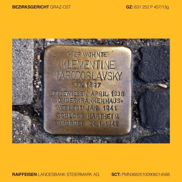 """Mag. Ingrid Moschik (*1955 Villach – 999), Kunstleitzahl 38000, KLZ 38000, Gerichtsleitzahl 38000, GLZ 38000, Bankleitzahl 38000, BLZ 38000, Spurensicherung 38000, Street photography 38000, Street Archeology 38000, Graffiti Graz, Graffiti 38000, Graffiti change the world, occupy art 38000, copycat art 38000, Graz IV. Lend, Südtirolerplatz 10, KLEMENTINE NARODOSLAVSKY, Jg. 1897, eingewiesen 1936 Sonderkrankenhaus, verlegt, ermordet 1941 Schloss Hartheim, Graz II. Leonhard, Rechbauerstrasse 27, Hier wohnte JOSEF NEUHOLD, Jg. 1890, im Widerstand verhaftet 1941, verurteilt 1942, in Haft gefoltert, tot 1942, Graz VI. Jakomini, Grazbachgasse 41 Ecke Maygasse, Hier arbeitete ISODOR KÖRNER, Jg. 1903, enteignet 1938, Flucht 1939 Jugoslawien, Kladovo-Transport, Schicksal unbekannt, Graz V. Gries, Griesplatz - Reichengasse – Bürgerspitalgassse, GENTRIFIKATION ist KRIEG gegen die Armen. Gentrifikation 38000, Getrifizierung 38000, Yuppisierung 38000, Yuppifikation 38000,  Graz V. Gries, Stadlgasse, RIOT NOT DIENT!, GynArcho 38000, Graz V. Gries, Annenstrasse 13, DIE WELT UM 99 CENT, Bankenhimmel 38000, Graz III. Geidorf, Leechgasse, (Arnold Schwarzenegger) HASTA LA VISTA (Baby), Graz III. Geidorf, Attemsgasse 25, LOKI, Trickster, Gangster, Bankster, Graz V. Gries, Grossmarktstrasse Beginn Puchstrasse, Schlachthof, Markus Wilfing (*1966 Innsbruck - ), Fahrraddisco als lebende Skulptur, Graz V. Gries, Puchstrasse 41, SCHAUMBAD – Offenes Atelierhaus Graz,  #REDBULLDIY 38000. (Doppelkreuz Red Bull Do It Yourself 38000),  Graz III. Geidorf, Heinrichstrasse 26, (GAK 1902) KULT SEIT NEUNZEHNHUNDERTZWEI, Graz V. Gries, Puchstrase 41, IST SEXUALITÄT WIRKLICH SO WICHTIG? SCHAUM PAVILLON von ALEXANDRA GSCHIEL und frau mag rosa pink, Kerstin Rajnar, Graz VI. Jakomini, """"Der Prozess -  §278a"""", MÖSE DOMUS, Mösenhaus 38000, Mösendom 38000, PURE VERNUNFT DARF NIEMALS SIEGEN 38000, MAMMA RIOT 38000, UTERUS RIOT 38000, VAGAINA RIOT 38000, PUSSY RIOT 38000, Graz II. Leonhard, Schörgelgasse, TEACH T"""