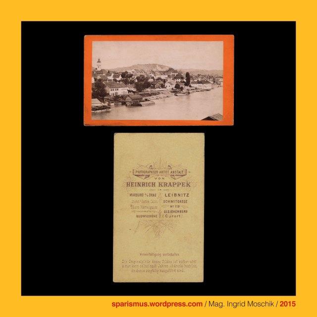 """Heinrich Krappek (1841 Brünn / Brnu – 1915 Marburg / Maribor), Hinko Krapek, Krappek = Krapek = Chlapek, chlapek = chlapik, krap = chlap = man = male human, Castrum Marchburch, March Castle, March of Drava, Marchburg (1164), Statt Marchburg (1254), Maribor, Marburgum, Margurgo, Marburg an der Drau, Müller jun., M. Müller jun., Moriz Müller junior (aktiv 1869 bis etwa 1895), Wien VII., Mariahilf, Mariahilferstrasse 76, anonymous, unidentified, Hardegg castle, Burg Hardegg (1145 bis heute), Hardegg town, Stadt Hardegg (1290 bis heute), Hardegg an der Thaya, Hardek / Dyje , """"Burg am harten Eck der Thaya"""""""