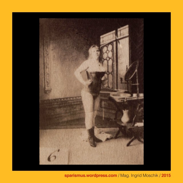 Otto Schmidt Kunstverlag, reference sheet, #6, circa 1885, lady study, bubes free, frontal rightwards, black coutille corset, white overknees, black ankle boots, standing in front of washing stand, basin, mirror, jug, towel, painted boudoir with window studio ground