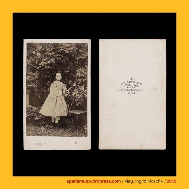 """J. B. Rottmayer, Johann B. Rottmyer, Johann B. Rottmayer (1826 Wien? – um 1897 Triest?) – aktiv als Photograph von etwa 1859 bis etwa 1897 in Wien, Brünn, Graz, Rohitsch, Laibach, Triest, Görz, München, Berchtesgaden, Rottmayer = Rott + Mayer = PIE *reud *reu- roden reissen Wurzelstöcke ausreissen urbar machen = urbar gemachtes Stück Land, Rottmayer = Rott + Mayer = Meier = königlicher bedeutender grösserer Haus-Verwalter = maior domus = Haupthof-Verwalter = Meierhof-Verwalter = Gutshof-Verwalter = Gutsverwalter, Rottmayer = """"oberster Verwalter eines gerodeten Stück Landes"""", Wien IV. Wieden - Mayerhofgasse (vor 1905 bis heute), Wien IV. Alte Wieden - Maierhofgasse (1830-1905), Wien IV. Alte Wieden - Mayerhöfel-Gasse (1778-1830), Wien IV. Alte Wieden - Favoriten-Allee (bis 1778), la fille en plein air, Freiluft-Portrait eines Mädchens, Thonet Stuhl Nr. 4 (ab 1850 in Produktion), The Austrian Federal Chancellery, Bundeskanzleramt Österreich, BKA, Ballhausplatz 2, Sparismus, Sparen ist muss, Sparism, sparing is must Art goes politics, Zensurismus, Zensur muss sein, Censorship is must, Mag. Ingrid Moschik, Mündelkünstlerin, ward artist, Staatsmündelkünstlerin, political ward artist, Österreichische Staatsmündelkünstlerin, Austrian political ward artist"""