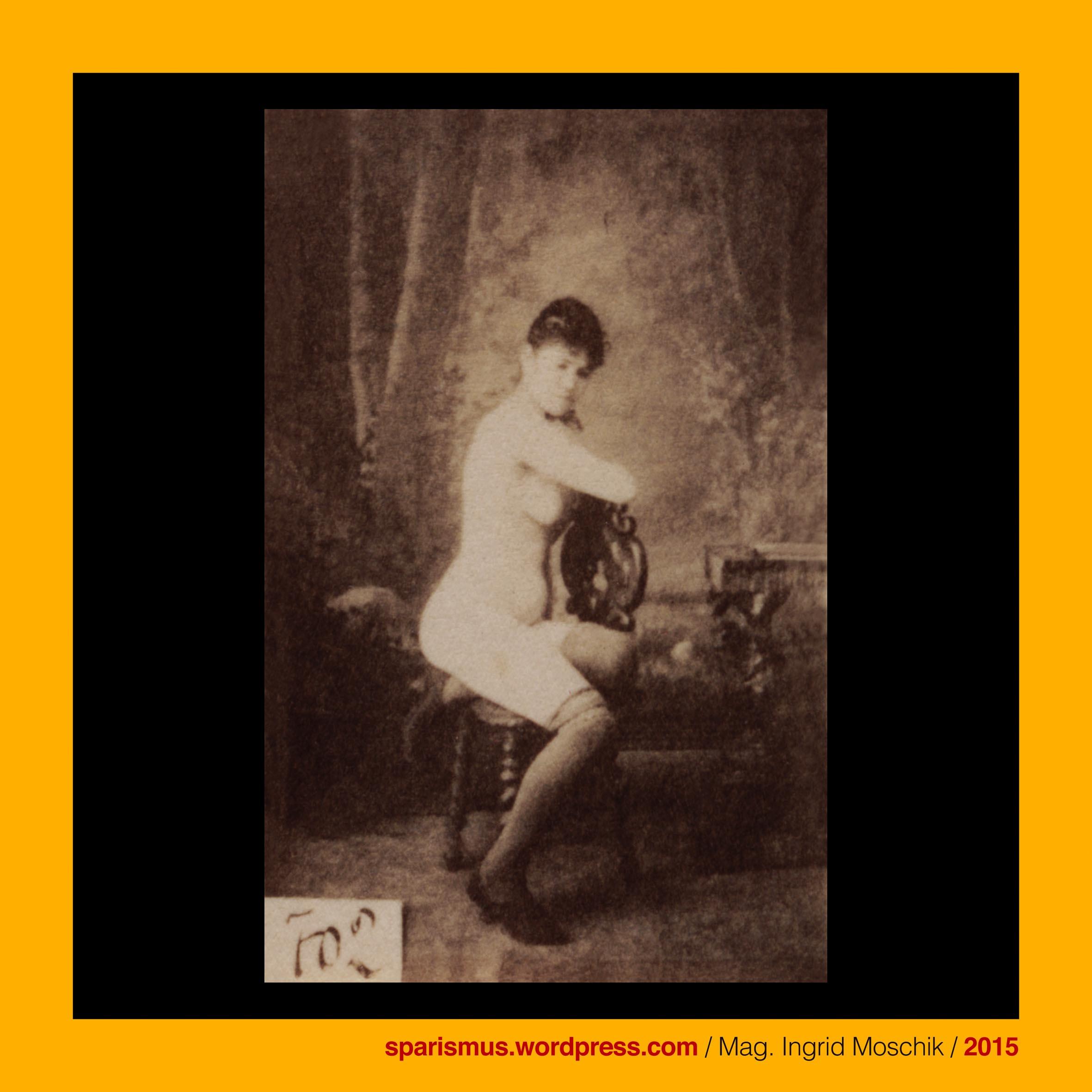 Otto Schmidt Wien 702 1885 Nackte Frontal überkniestrümpfe