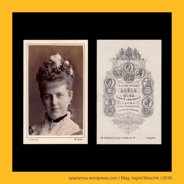 """Adele, Adele – k.k. Hof-Atelier in Wien, Adele Permutter-Heilpern, Adele Perlmutter (1845 Solotschiw Galizien – 1941 Wien) – österreichische Photographin, Solotschiw = Solotschew = Zolochiv = Zliczow, Bertha Babitsch (1850 Wien – 1928 Wien) - 1. Solotänzerin an der k.u.k. Hofhoper (Primaballerina), Bertha Babitsch = Bertha Linda = """"Linda"""" – Wiener Primaballerina,  Bertha Babitsch (1850 Wien – 1928 Wien) - Wiener Tänzerin – in erster Ehe  mit dem Maler Hans Makart (1881-84), Bertha Babitsch (1850 Wien – 1928 Wien) - Wiener Tänzerin – in zweiter Ehe  mit Grafen von Strachwitz-Grosszauche-Kamenitz verheiratet, Bertha Babitsch (1850 Wien – 1928 Wien) - Wiener Tänzerin – in dritter Ehe  mit Rittmeister Geza Udvalaky verheiratet, Hans Makart (1840 Salzburg – 1884 Wien) – österreichischer Maler und Dekorationskünstler, Hans Makart (1840 Salzburg – 1884 Wien) – Austrian academic history painter designer decorateur, Wilhelm von Tegetthoff (1827 Marburg Maribor – 1871 Wien) – österreichischer Admiral und Kommandant der k.u.k. Kriegsmarine, Wilhelm von Tegetthoff (1827 Marburg an der Drau – 1871 Wien) – österreichischer Seeheld und Forschungsreisender, Katharina Schratt (1853 Baden bei Wien – 1940 Wien) – österreichische Schauspielerin, Katharina Schratt (1853 Baden bei Wien – 1940 Wien) – Freundin von Kaiser Franz Joseph I., Katharina Schratt (1853 Baden bei Wien – 1940 Wien) – Freundin von Hans Graf Wilczek, Katharina Schratt (1853 Baden bei Wien – 1940 Wien) – Freundin von Viktor Kutschera, Katharina Schratt (1853 Baden bei Wien – 1940 Wien) – Freundin von Ferdinand von Sachsen-Koburg-Kohary, The Austrian Federal Chancellery, Bundeskanzleramt Österreich, BKA, Ballhausplatz 2, Sparismus, Sparen ist muss,  Sparism, sparing is must Art goes politics, Zensurismus, Zensur muss sein, Censorship is must, Mag. Ingrid Moschik, Mündelkünstlerin, ward artist, Staatsmündelkünstlerin, political ward artist, Österreichische Staatsmündelkünstlerin, Austrian political ward artist"""