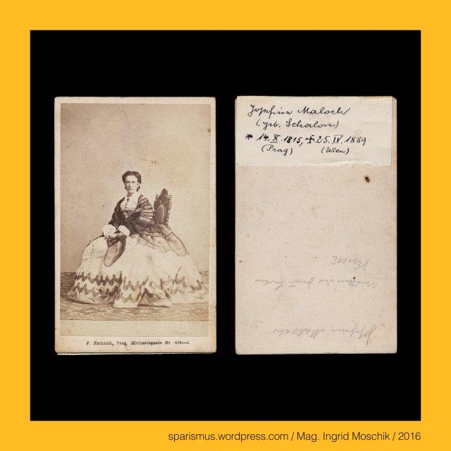 """F. Fridrich, Frantisek Fridrich (1829 Menik – 1892 Prague Praha Prag) – Czech photographer and publisher, Prag – Michaelsgasse Nr. 438-I., Praha – Michalska Nr. 438-I., Josefine Maloch - geborene Schalon – geboren 14.10.1815 in Prag – gestorben 25.04.1889 in Wien, Josefine Maloch-Schalon (14.10.1815 Praha – 25.04.1889 Vidni), Schalon Shalon – Etymology 1 Hebrew sholom sholem sholoim shulem """" peace harmony wholeness completeness prosperity welfare"""", Maloch – Etymology 1 - Hebrew Mal'akhiy """"my angel or my messenger or my prophet"""" – Book of Malaki, Maloch - Etymology 2 - Hebrew melokhe or m'lakha """"work or labour"""", Dictamnus = Diptam = Dittam = Diktam = Diktamnos = Diptam-Dost = Aschwurz = Brennender Busch = fraxinella = dittany = burning bush (1753 bis heute), Weigelia = Weigelie = Weigela (1780 bis heute), Weigelia – Etymologie – Christian Ehrenfreid Weigel (1748 Stralsund – 1831 Greifswald) – schwedischer Mediziner Botaniker Chemiker, Hesperis matronalis = Gewöhnliche Nachviole = Matronenblume = Kilte = dame's rocket (1753 bis heute), Hesperis = Hesperie – gr. hesperos """"evening or direction in which the sun sets"""" , Hesperia - gr. Hesperia """"Abendland or the western land"""", Hesperus - gr. hesperos aster """"the evening star or Abendstern"""" – PIE *wes-pero- """"evening or night"""" – PIE *we- """"down or downward"""", Wenzel von Böhmen (circa 908 – circa 935), Wenzel von Böhmen = Wenzeslaus von Böhmen, Svaty Vaclav = Wenceslaus I - Duke of Bohemia, Wenzelsplatz (1848 bis heute), Rossmarkt = Konsky trh (1348 – 1848), Vaclavak = Vaclavaske namesti = Wenceslaus Square, Prag - Palais Thurn und Taxis = Thurn-Taxisovsky palac (1726 bis heute), Prag - Mala Strana - Letenska 7 = Palac Thurn-Taxisu, Prag - Certovka - Moldau-Kanal, Prag - Certovka = German """"Teufelsgraben"""" = English """"Devils Channel"""" = Italiano """"canale del diavolo"""", Prag - Letna = Sommerberg = Belvedere, Prag – Letna Park = Letenske sady = Letna Park, Prag – Letna Ebene = Letenska plan = Letna plain, Stockrose = hollyhock = Stockma"""