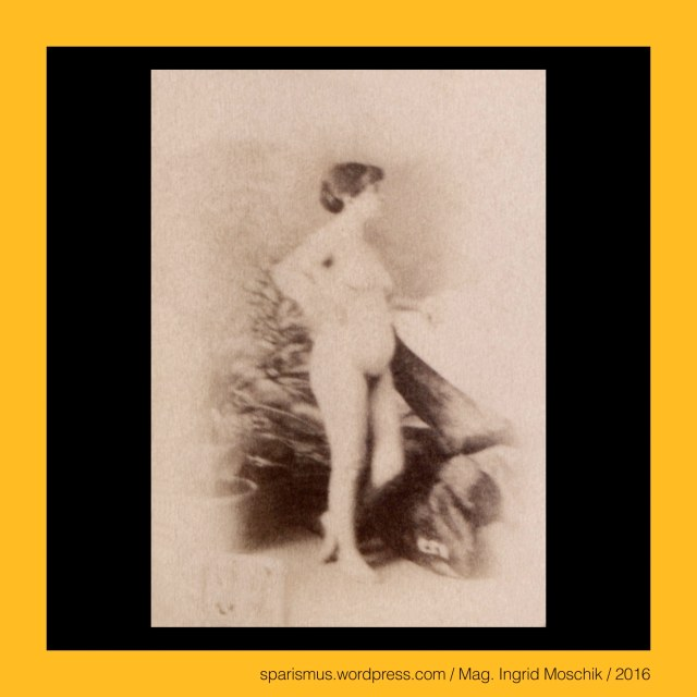 Otto Schmidt Vienna, vignetted reference sheet, #129, circa 1885, nude study, bunned hair, standing, frontolateral rightwards, the right at hip, the left on rocks, potted Yucca