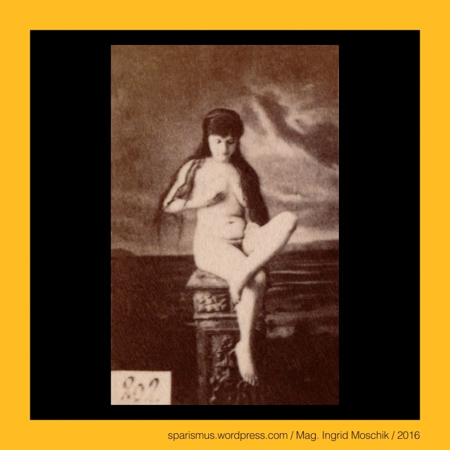 Otto Schmidt Kunstverlag, reference sheet, #202, circa 1885, female nude study, frontal, sitting on stool, view leftwards, fingers in hair, painted seashore in moonlight studio ground