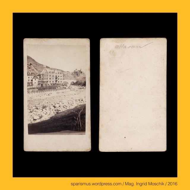 """Moosbrugger, P. Moosbrugger, Ptr. Moosbrugger, Peter Moosbrugger (1831-1883 Meran) – Südtiroler (Wander-)Fotograf in Meran der 1850-70er, August Moosbrugger – Südtiroler (Wander-)Fotograf in Meran der 1850-70er, Gebrüder Moosbrugger - Südtiroler (Wander-)Fotografen der 1850-70er, #Meran, #Merano, Meran = Merano – Dorf Tirol – Brunnenburg = Castel Fontana (circa 1250 bis heute), Meran = Merano -  Obermais = Maia Alta – seit 1923 eingemeindeter Ortsteil östlich der Passer, Meran = Merano - Untermais = Maia Bassa – seit 1923 eingemeindeter Ortsteil südlich der Passer, Meran = Merano – Mais - Statio Maiensis - römische Zollstation an der Passer-Etsch-Mündung, Etsch = Adige = Adesc = Ades = Adisch = Adexe = Athesis – keltisch *at-iks """"schnell fliessendes Wasser"""", Meran = Merano – Burgruine Ortenstein = Rovina Ortenstein – Pulverturm (13. Jahrhundert bis heute), Meran = Merano = spätlat. Mairania = lat. Maran(um) – zweitgrösste Stadt in Südtirol (857 bis heute), Meran = Merano = spätlat. Mairania = lat. Marianum – Etymology 1 – lat. Marius + -anum """"place belonging to Marius family, Meran = Merano = spätlat. Mairania = lat. Marianum – Etymology 2 – pre-lat. marra """"heap of stones"""", Meran = Merano = spätlat. Mairania = lat. Marianum – Etymology 3 – pre-lat. mara """"stream"""", Passeiertal = Passeier = Passiria = Val Passiria – Gebirgstal in Südtirol nördlich von Meran, Passer = Passirio – knapp 43 Kilometer langer Fluss in Südtirol vom Timmelsjoch bis Meran (Einmündung in die Etsch), Passeier = Passeyer = Parseyer = Parseyr – Etymologie 1 – rätoromanisch pra de sura = prasura """"obere Wiese"""" – prater + supra, Meran = Merano - Steinerner Steg = Ponte di Pietra (1617 bis heute) – zweibögige Steinbrücke über die Passer, Zenoburg = Zenoberg = Castel San Zeno – Dorf Tirol bei Meran in Südtirol (vor 1237 bis heute), Zeno of Verona = Zenone da Verona – legendären (Seelen-)Fischer an der Etsch, Zeno von Verona (um 300 Mauretanien – um 380 Verona) – um 360 Bischof von Verona, Zeno = Zenon ="""