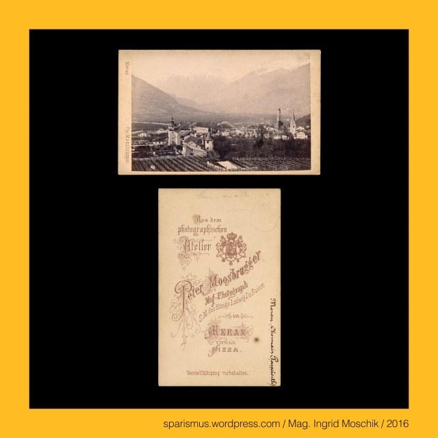 """Moosbrugger, P. Moosbrugger, Ptr. Moosbrugger, Peter Moosbrugger (1831-1883 Meran) – Südtiroler (Wander-)Fotograf in Meran der 1850-70er, August Moosbrugger – Südtiroler (Wander-)Fotograf in Meran der 1850-70er, Gebrüder Moosbrugger - Südtiroler (Wander-)Fotografen der 1850-70er, #Meran, #Merano, Meran = Merano -  Obermais = Maia Alta – seit 1923 eingemeindeter Ortsteil östlich der Passer, Meran = Merano - Untermais = Maia Bassa – seit 1923 eingemeindeter Ortsteil südlich der Passer, Meran = Merano – Mais - Statio Maiensis - römische Zollstation an der Passer-Etsch-Mündung, Etsch = Adige = Adesc = Ades = Adisch = Adexe = Athesis – keltisch *at-iks """"schnell fliessendes Wasser"""", Meran = Merano – Burgruine Ortenstein = Rovina Ortenstein – Pulverturm (13. Jahrhundert bis heute), Meran = Merano = spätlat. Mairania = lat. Maran(um) – zweitgrösste Stadt in Südtirol (857 bis heute), Meran = Merano = spätlat. Mairania = lat. Marianum – Etymology 1 – lat. Marius + -anum """"place belonging to Marius family, Meran = Merano = spätlat. Mairania = lat. Marianum – Etymology 2 – pre-lat. marra """"heap of stones"""", Meran = Merano = spätlat. Mairania = lat. Marianum – Etymology 3 – pre-lat. mara """"stream"""", Passeiertal = Passeier = Passiria = Val Passiria – Gebirgstal in Südtirol nördlich von Meran, Passer = Passirio – knapp 43 Kilometer langer Fluss in Südtirol vom Timmelsjoch bis Meran (Einmündung in die Etsch), Passeier = Passeyer = Parseyer = Parseyr – Etymologie 1 – rätoromanisch pra de sura = prasura """"obere Wiese"""" – prater + supra, Meran = Merano - Steinerner Steg = Ponte di Pietra (1617 bis heute) – zweibögige Steinbrücke über die Passer, Zenoburg = Zenoberg = Castel San Zeno – Dorf Tirol bei Meran in Südtirol (vor 1237 bis heute), Zeno of Verona = Zenone da Verona – legendären (Seelen-)Fischer an der Etsch, Zeno von Verona (um 300 Mauretanien – um 380 Verona) – um 360 Bischof von Verona, Zeno = Zenon = Zenone """"Zeus-Diener"""" - Zeus """"Gott """" – Etymologie 1 idg. *diu- """"hell taghell Tag"""" –"""