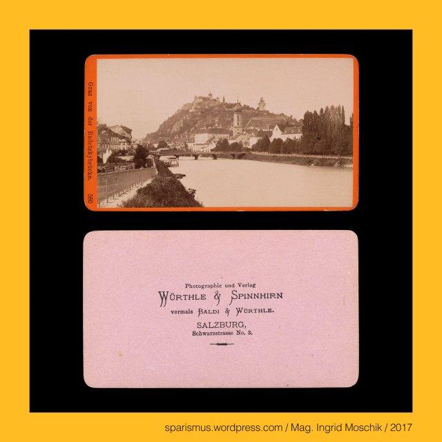 """WÜRTHLE & SPINNHIRN – vormals BALDI & WÜRTHLE – Salzburg Schwarzstrasse No. 3 – Photographie und Verlag (1878-1881), WÜRTHLE & SPINNHIRN, WÜRTHLE & SPINNHIRN in Salzburg, Würthle & Spinnhirn (1881 bis 1892), Hermann Spinnhirn (1840 Konstanz am Bodensee – 1892 Salzburg) – deutsch-österreichischer Chemiker Apotheker Unternehmer, Hermann Spinnhirn (1840 Konstanz – 1892 Salzburg) – Schwiegersohn von Friedrich Würthle in Salzburg, Hermann Spinnhirn (1840 Konstanz – 1892 Salzburg) – seit 1874 Partner von """"Baldi und Würthle"""" in Salzburg, Hermann Spinnhirn (1840 Konstanz – 1892 Salzburg) – von 1881 bis 1892 Teilhaber von """"Würthle & Spinnhirn"""" in Salzburg, BALDI & WÜRTHLE, Gregor Baldi (1814 Telve Val Sugana Trentino – 1878 Salzburg) – österreichischer Fotograf und Kunsthändler in Salzburg, Baldi & Würthle – gemeinsames Fotoatelier in Salzburg von 1862 bis 1874 bzw. 1882, G. Baldi – Fotoatelier in Salzburg von Jänner bis April 1874, Karl Friedrich Würthle (1810 Konstanz am Bodensee – 1902 Salzburg) – österreichischer Fotograf in Salzburg, Würthle & Spinnhirn (1882 bis 1892), Würthle & Sohn (1892 – 1916), Galerie Würthle, Graz – Radektzybrücke – Verbindungsbrücke über die Mur von Radetzkystrasse (I.) und Brückenkopfgasse (V.), Graz – Radektzybrücke (1849 bis heute), Graz – Radektzybrücke – """"ältere untere Brücke"""" (1787 bis 1829), Graz – Radektzybrücke – """"neuere untere Brücke"""" (1829 bis 1897), Graz – Radektzybrücke (1849 bis heute) – """"Eiserne Brücke"""" (1898 bis 1994), Graz – Radektzybrücke (1849 bis heute) – heutige Brücke über die Mur (1995 bis heute), Graz – Radektzybrücke – Verbindungsbrücke über die Mur von Radetzkystrasse (I.) und Brückenkopfgasse (V.), Graz – Radektzybrücke (1849 bis heute), Graz – Radektzybrücke – """"ältere untere Brücke"""" (1787 bis 1829), Graz – Radektzybrücke – """"neuere untere Brücke"""" (1829 bis 1897), Graz – Radektzybrücke (1849 bis heute) – """"Eiserne Brücke"""" (1898 bis 1994), Graz – Radektzybrücke (1849 bis heute) – heutige Brücke über die Mur (1995 bis heut"""