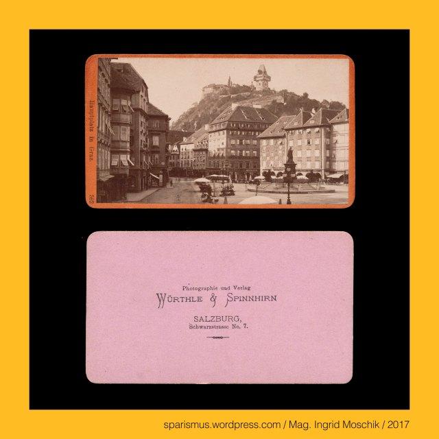 """WÜRTHLE & SPINNHIRN – Salzburg Schwarzstrasse No. 7 – Photographie und Verlag (1881-1891), WÜRTHLE & SPINNHIRN – vormals BALDI & WÜRTHLE – Salzburg Schwarzstrasse No. 3 – Photographie und Verlag (1878-1881), WÜRTHLE & SPINNHIRN, WÜRTHLE & SPINNHIRN in Salzburg, Würthle & Spinnhirn (1881 bis 1892), Hermann Spinnhirn (1840 Konstanz am Bodensee – 1892 Salzburg) – deutsch-österreichischer Chemiker Apotheker Unternehmer, Hermann Spinnhirn (1840 Konstanz – 1892 Salzburg) – Schwiegersohn von Friedrich Würthle in Salzburg, Hermann Spinnhirn (1840 Konstanz – 1892 Salzburg) – seit 1874 Partner von """"Baldi und Würthle"""" in Salzburg, Hermann Spinnhirn (1840 Konstanz – 1892 Salzburg) – von 1881 bis 1892 Teilhaber von """"Würthle & Spinnhirn"""" in Salzburg, BALDI & WÜRTHLE, Gregor Baldi (1814 Telve Val Sugana Trentino – 1878 Salzburg) – österreichischer Fotograf und Kunsthändler in Salzburg, Baldi & Würthle – gemeinsames Fotoatelier in Salzburg von 1862 bis 1874 bzw. 1882, G. Baldi – Fotoatelier in Salzburg von Jänner bis April 1874, Karl Friedrich Würthle (1810 Konstanz am Bodensee – 1902 Salzburg) – österreichischer Fotograf in Salzburg, Würthle & Spinnhirn (1882 bis 1892), Würthle & Sohn (1892 – 1916), Galerie Würthle, Graz – I. Innere Stadt – Hauptplatz (1870 bis heute), Graz – I. Innere Stadt – Hauptplatz = Hauptwachplatz (19. Jahrhundert) = """"auf dem Platz"""" (um 1160 bis 1665), Graz – I. Innere Stadt – Hauptplatz = Adolf-Hitler-Platz (1838-1945), Graz – Radektzybrücke – Verbindungsbrücke über die Mur von Radetzkystrasse (I.) und Brückenkopfgasse (V.), Graz – Radektzybrücke (1849 bis heute), Graz – Radektzybrücke – """"ältere untere Brücke"""" (1787 bis 1829), Graz – Radektzybrücke – """"neuere untere Brücke"""" (1829 bis 1897), Graz – Radektzybrücke (1849 bis heute) – """"Eiserne Brücke"""" (1898 bis 1994), Graz – Radektzybrücke (1849 bis heute) – heutige Brücke über die Mur (1995 bis heute), Graz – Radektzybrücke – Verbindungsbrücke über die Mur von Radetzkystrasse (I.) und Brückenkopfgasse (V.), Gr"""