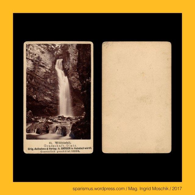"""A. Gröger, A. Gröger – Habelschwerdt, A. Gröger – Bystrzyca Klodzka, A. Gröger – Fotograf und Verlag in Habelschwerdt von etwa 1880 bis etwa 1920, Glatz = Glootz = Klodzko = Kladsko = Glacia, Glatz = tsch. Kladsko = lat. Glacia – castellum Cladsco (12. Jh.) """"Holzpfosten-Festung"""" - Etymologie 1 tsch. klada """"Balken"""", Habelschwerdt = Bystrzyca Klodzka, Glatz = Glootz = Klodzko = Kladsko = Glacia, Habelschwerdt = polnisch Bystrzyca Klodzka – circa 20.000 Einwohner zählende Stadt in Niederschlesien, Bystritz = tschechisch Bystrice – Etymology 1 proto-slawisch *-bistr """"klar schnell eilig WildBach"""", Habelschwerdt = Bystrzyca Klodzka – Etymologie 1 - """"Habel-s-werdt"""" - """"Warte des Heiligen Gallus = Habel = Hawel = Havel"""", Wölfelsgrund = Miedzygorze – circa 700 Einwohner zählende Gemeinde in Niederschlesien, Wölfelsbach = Wilczka = Wilczka River – Entwässerung des Glatzer Schneeberges, Wölfelsfall = Wodospad Wilczki – 27 m hoher Wasserfall der Wölfel, Wölfelsfall = Wodospad Wilczki – Etymoloie - polnisch wilcz """"wild Wolf"""" - polnisch wilczka """"kleiner Wolf Wölfel"""", The Austrian Federal Chancellery, Bundeskanzleramt Österreich, BKA, Ballhausplatz 2, Sparismus, Sparen ist muss,  Sparism, sparing is must Art goes politics, Zensurismus, Zensur muss sein, Censorship is must, Mag. Ingrid Moschik, Mündelkünstlerin, ward artist, Staatsmündelkünstlerin, political ward artist, Österreichische Staatsmündelkünstlerin, Austrian political ward artist"""