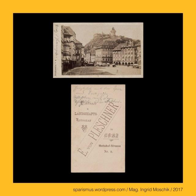 """E. von Pleschner – Graz, Eduard Pleschner von Eichstett – Graz, Eduard von Pleschner – Graz, Eduard Pleschner Edler von Eichstett – Fotounternehmen in Graz in den 1860-80ern, Eduard Pleschner Edler von Eichstett (1813 Prag – 1864 Prag) – österreichischer Kaufmann und Gründer der Handelsakademie in Prag, Eduard Pleschner Edler von Eichstett (1813 Prag – 1864 Prag) – seit 1835 mit Veronika Wischin verheiratet – 9 Kinder, Graz – IV. Lend – Metahofgasse (1870 bis heute) – Mettahofgasse – Mettahofstrasse – Mettahof-Strasse, Graz – IV. Lend – Metahofgasse (1870 bis heute) – Metahof-Schlössl (17. Jahrhundert bis heute), Graz – IV. Lend – Metahofgasse (1870 bis heute) – Portal mit der Inschrift META QUIES LABORUM = Das Ziel der Arbeit ist die Ruhe, Graz – I. Innere Stadt – Dreifaltigkeitssäule (1684-88 bis heute) – von Kaiser Leopold I. 1680 gestiftete Pestsäule, Graz – I. Innere Stadt – Hauptplatz – Sackstrasse – Dreifaltigkeitssäule (1688-1875), Graz – I. Innere Stadt – Karmeliterplatz – Dreifaltigkeitssäule (1876 bis heute), Graz – I. Innere Stadt – Hauptplatz (1870 bis heute), Graz – I. Innere Stadt – Hauptplatz = Hauptwachplatz (19. Jahrhundert) = """"auf dem Platz"""" (um 1160 bis 1665), Graz – I. Innere Stadt – Hauptplatz = Adolf-Hitler-Platz (1838-1945), Graz – I. Innere Stadt – Stadtparkbrunnen = Franz-Josephs-Brunnen (1874-1918), Graz – I. Innere Stadt – Brunnen von der Weltausstellung in Wien 1873, Jean-Baptiste-Jules Klagmann (1810 Paris – 1867 Paris) – französischer sculpteur und Schöpfer des Grazer Stadtparkbrunnens, Antoine Durenne (1822 Paris – 1895 Presles) – französischer fondeur d'art und Giesser des Grazer Stadtparkbrunnens, Graz - bis 1843 Gratz Graetz Grätz Gräz Grez (1128 bis heute), Graz – (Slavic) gradec or hradec """"kleine Burg"""" – small wooden fortified settlement - holzumgürtete Siedlung, Graz – (Slovene) gradec """"small castle"""", Graz I. Innere Stadt – Schlossberg, Graz I. Innere Stadt – Schlossberg – Glockenturm (1588 bis heute), Graz I. Innere Stadt – Sch"""