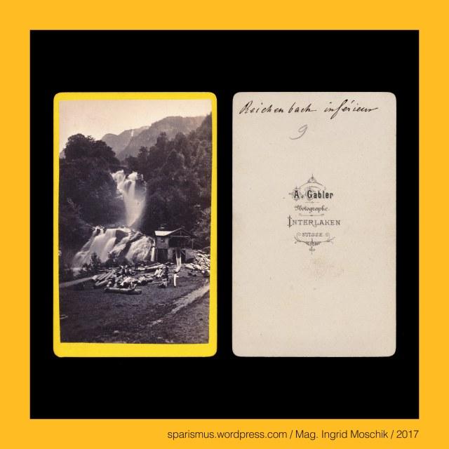 """A. GABLER, A. Gabler – Interlaken, Johann Adam Gabler (1833-1888) – Schweizer Fotograf von etwa 1861 bis 1888, Johann Adam Gabler (1833 Ottowind in Sachsen DE – 1888 Interlaken CH) – schweizerischer Photograph des 19. Jahrhunderts, Arthur Gabler – Sohn von Johann Adam Gabler und Schweizer Fotograf von etwa 1888 bis nach 1900,  Schweiz – Berner Oberland - Interlaken, Schweiz – Berner Oberland - Interlaken – circa 5700 Einwohner zählende Gemeinde zwischen Thunersee und Brienzersee, Schweiz – Berner Oberland - Interlaken - lateinisch """"Inter Lacus = zwischen den Seen gelegen"""", Schweiz – Berner Oberland – Reichenbach = Rychenbach, Schweiz – Berner Oberland – Reichenbach – Nebenfluss der Aare, Schweiz – Berner Oberland – Aare = Aar = Arole, Schweiz – Berner Oberland – Aare – 288 km langer Fluss in der Schweiz mit Einündung in den Rhein, Schweiz – Berner Oberland – Aare – Latin Arula = Arola = Araris, Schweiz – Berner Oberland – Reichenbachfall, Suisse – Oberland bernois - Meiringen - Chute du Reichenbach, Switzerland – Bernese Oberland – Meiringen - Reichenbach Falls, Switzerland – Bernese Oberland – Meiringen, Switzerland – Bernese Oberland – Meiringen – circa 4700 Einwohner zählende Gemeinde im Aaretal, Switzerland – Bernese Oberland – Meiringen – Petrus de Megeringen (1201) – ahd. Meghier + -ingun """"bei den Leuten des Meghier"""", Switzerland – Bernese Oberland – Meiringen – Etymologie 1 lateinisch maior majus """"Ober-Verwalter Ober-Bauer"""" – PIE *mag-yes meg-yes """"great-er"""", The Austrian Federal Chancellery, Bundeskanzleramt Österreich, BKA, Ballhausplatz 2, Sparismus, Sparen ist muss,  Sparism, sparing is must Art goes politics, Zensurismus, Zensur muss sein, Censorship is must, Mag. Ingrid Moschik, Mündelkünstlerin, ward artist, Staatsmündelkünstlerin, political ward artist, Österreichische Staatsmündelkünstlerin, Austrian political ward artist"""