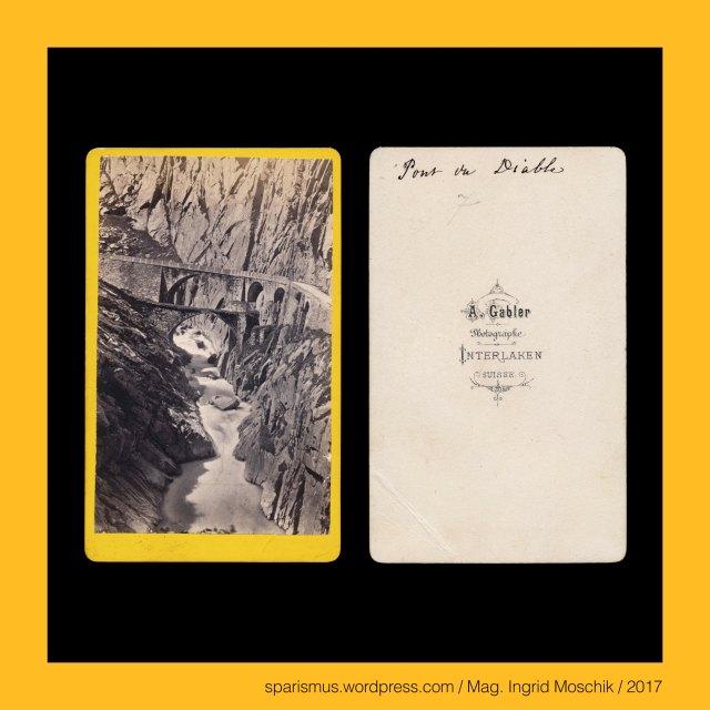 """A. GABLER, A. Gabler – Interlaken, Johann Adam Gabler (1833-1888) – Schweizer Fotograf von etwa 1861 bis 1888, Johann Adam Gabler (1833 Ottowind in Sachsen DE – 1888 Interlaken CH) – schweizerischer Photograph des 19. Jahrhunderts, Arthur Gabler – Sohn von Johann Adam Gabler und Schweizer Fotograf von etwa 1888 bis nach 1900, Schweiz – Uri – Schöllenen, Schweiz – Uri – Schöllenen – Schellenden (1420) – räto-romanisch scalina """"Steiglein"""" – lateinisch scala """"Stiege Steig Treppe"""", Schweiz – Uri – Schöllenen = Schöllenen Gorge = Schöllenenschlucht = La Scalina, Schweiz – Uri – Schöllenenschlucht mit der Reuss verbindet Kanton Uri mit Kanton Tessin, Schweiz – Uri – Schöllenenschlucht mit der Gemeinde Göschenen im Norden und Andermatt im Süden, Schweiz – Uri – Schöllenen mit der Teufelsbrücke über die Reuss verbindet Kanton Uri mit Kanton Tessin, Schweiz – Uri – Schöllenen - Teufelsbrücke = Pont du Diable = Devil's Bridge, Schweiz – Uri – Schöllenen – Twärrenbrücke (um 1200 bis 1707), Schweiz – Uri – Schöllenen – Erste hölzerne Teufelsbrücke (1230 – 1595), Schweiz – Uri – Schöllenen – Erste steinerne Teufelsbrücke (1595 – 1830 bzw. 1888), Schweiz – Uri – Schöllenen – Zweite steinerne Teufelsbrücke (1830 bis heute), Schweiz – Uri – Schöllenen – Dritte Teufelsbrücke (1858 bis heute), Schweiz – Uri – Reuss, Schweiz – Uri – Reuss – Rusa (1296) – Rusia (9th century) – Germanic *Rusi *Rusjo """"Reuse or fish-trap"""" - PIE *ror """"reed Rohr Geflecht"""", Schweiz – Uri – Reuss – 164 km langer Fluss vom Gotthardmassiv in die Aare, The Austrian Federal Chancellery, Bundeskanzleramt Österreich, BKA, Ballhausplatz 2, Sparismus, Sparen ist muss,  Sparism, sparing is must Art goes politics, Zensurismus, Zensur muss sein, Censorship is must, Mag. Ingrid Moschik, Mündelkünstlerin, ward artist, Staatsmündelkünstlerin, political ward artist, Österreichische Staatsmündelkünstlerin, Austrian political ward artist"""