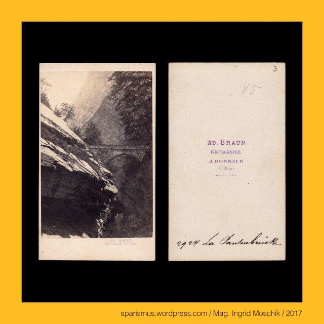 """AD. BRAUN a DORNACH, Adolphe Braun (1812 Besacon  – 1877 Dornach) - französischer Textildesigner und Fotograf, Adolphe Braun (1812 Besacon  – 1877 Dornach) - French photographer, Adolphe Braun (1812 Besacon  – 1877 Dornach) - photographe francais, Schweiz – Kanton Glarus, Schweiz – Kanton Glarus – Linth , Schweiz – Kanton Glarus – Linth – Etymologie 1 keltisch Lindomagus = *lindo- """"Gewässer"""" + *magos = """"Ebene"""", Schweiz – Kanton Glarus – Linth = Oberlauf der Limmat – 38 km langer Fluss mit Ursprung im Tödi-Massiv und Mündung in den Zürichsee, Schweiz – Kanton Glarus – Pantenbrücke, Schweiz – Kanton Glarus – Pantenbrücke – Brücke über die Linthschlucht, Schweiz – Kanton Glarus – Pantenbrücke – lat. pons pontis """"Brücke"""", Schweiz – Kanton Glarus – Tierfehd – Thierfehd – """"schwieriger Fusspfad zur Pantenbrücke"""" - Etymologie 1 - ahd. fed fad """"Pfad Weg"""", Schweiz – Kanton Glarus – Tierfehd – Thierfehd – """"schwindliger Rasenpferch für Ziegen und Schafe"""" - Etymologie 2 - ahd. fed fad """"Pferch Zaun"""", Schweiz – Kanton Glarus – Tierfehd – Streusiedlung am Fusse des Tödi, Schweiz – Kanton Glarus – Linthal – circa 1000 Einwohner zählende Gemeinde, The Austrian Federal Chancellery, Bundeskanzleramt Österreich, BKA, Ballhausplatz 2, Sparismus, Sparen ist muss,  Sparism, sparing is must Art goes politics, Zensurismus, Zensur muss sein, Censorship is must, Mag. Ingrid Moschik, Mündelkünstlerin, ward artist, Staatsmündelkünstlerin, political ward artist, Österreichische Staatsmündelkünstlerin, Austrian political ward artist"""