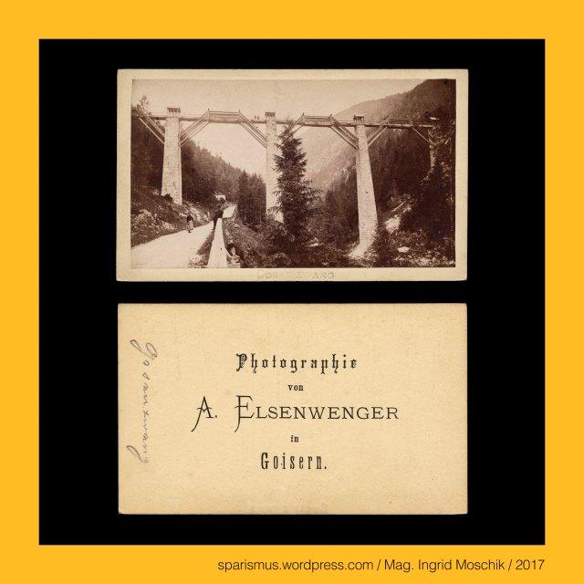 """A. ELSENWENGER, Alois Elsenwenger = Alois Elßenwenger = Alois Elssenwenger, Alois Elsenwenger (1830 Goisern – 1903 Goisern) – Buchbinder und Fotograf im Salzkammergut von etwa 1863 bis 1880er, Elsenwenger = Elssenwenger = Elßenwenger – """"der vom Erlengrund"""" – ahd. alizo """"Erle Eller Elsen"""" + ahd. weng """"(eingehegte) Wiese"""", Oberösterreich – Goisern = Bad Goisern am Hallstätter See, Oberösterreich – Bad Goisern am Hallstätter See – circa 7500 Einwohner zählende Gemeinde an der Traun im Salzkammergut, Oberösterreich – Goisern – Geusarn (um 1325) - Gebisharn (13. Jh.) – ahd. gebiza """"Gebse Schüssel Schale flaches Gefäss"""", Oberösterreich – Goisern – Etymologie 1 """"Ort eines Talmulden-Bewohners"""", Oberösterreich – Goisern – Etymologie 2 """"Ort eines Holzmulden-Erzeugers"""", Gosau – Etymologie 1 gos + a(ch) """"Gussbach Sturzbach""""-  fluminis Gosach (1231) – Gosa (1261) – idg. *gheus- *ghus- """"giessen"""" + idg. *akh- ekh- """"Wasser"""", Gosau – Erschliessung des waldreichen Salzkammerguts entlang des Gosaubachs durch Mönche des Stiftes St. Peter in Salzburg (1231), Gosaubach – links- bzw. westseitiger Zufluss des Hallstätter See, Gosautal – links- bzw. westseitige Einkerbung in das Hallstätter-See-Becken, Gosaumühle – links- bzw. westseitige Einmündung des Gosaubaches in den Hallstätter See, Gosauzwang – mit """"Zwang"""" zu überbrückender Verlauf der Soleleitung von Hallstatt nach Ischl und Ebensee (um 1600 bis 1775), Gosaubrücke = Gosauzwang-Brücke (1775 bis heute), Gosauschlucht, Gosaugraben, The Austrian Federal Chancellery, Bundeskanzleramt Österreich, BKA, Ballhausplatz 2, Sparismus, Sparen ist muss,  Sparism, sparing is must Art goes politics, Zensurismus, Zensur muss sein, Censorship is must, Mag. Ingrid Moschik, Mündelkünstlerin, ward artist, Staatsmündelkünstlerin, political ward artist, Österreichische Staatsmündelkünstlerin, Austrian political ward artist"""