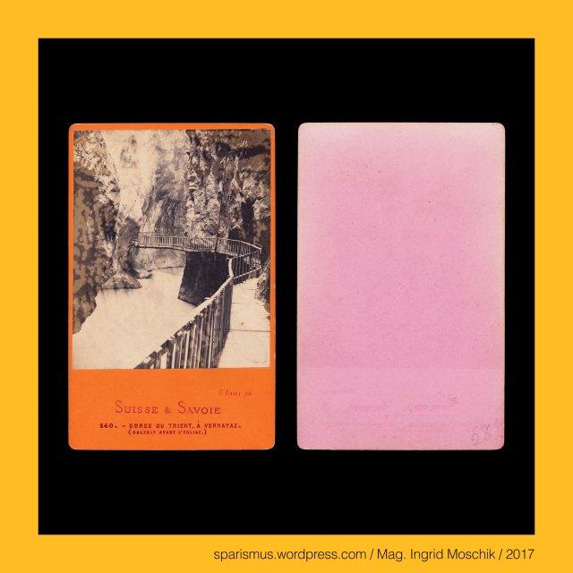 """E. LAMY ph., Ernest Lamy = Ernest Eleonor Pierre Lamy, Ernest Lamy – Paris – Rue d'Enghien 24 (circa 1860 – circa 1873) – 1100 """"Epreuves stereoscopiques"""", Ernest Lamy (1828 Tiel sur Seine – 1900 Courbevoie) – Pariser Reisefotograf von circa 1860 bis 1870er, Lamy = L'Amy = Le Amicus – Latin amicus """"friend Freund Liebling"""" – Latin amare to love"""" – PIE *am-a- """"Amme mother mom aunt Muhme"""", Suisse – Kanton Wallis – Gorges du Trient a Vernayaz, Suisse – Kanton Wallis – Gorges du Trient = Schlucht der Trient – Etymologie 1 PIE *guerh3- """"to devour vorare gorge Gurgel Gargantua"""", Suisse – Kanton Wallis – Trient – 17 km langer Fluss von Trientgletscher zur Mündung in die Rhone bei Vernayaz, Suisse – Kanton Wallis – Glacier du Trient = Trientgletscher, Suisse – Kanton Wallis – Trient = Trentbach – Etymologie 1 PG *trandijan """"to turn around drehen driften trotten tründeln Trent"""", Suisse – Kanton Wallis – Vernayaz, Suisse – Kanton Wallis – Vernayaz – """"Erlengrund"""" – Etymologie 1 vernayaz – la vernaz – verne – vergne – PIE *uerna werna verna """"alder"""", Suisse – Kanton Wallis – Vernayaz – circa 1900 Einwohner zählende Gemeinde an der Rhone, Suisse – Kanton Wallis – Vernayaz – 1913 Abspaltung von der Gemeidne Salvan, Suisse – Kanton Wallis – Salvan = Scharwang – monte Silvano (circa 1025) - cum Silvano (1018), Suisse – Kanton Wallis = Canton du Valais = Vallese = Vallais = Vales, Suisse – Kanton Wallis – Le Pissevache = Cascade de Salanfe = Cascade de la Sallanche = Pissevache-Wasserfall, Suisse – Kanton Wallis – Pissevache - Etymologie 1 """"Giessbach-Wasserfall"""" – rätormanisch Piesch Piescha """"Wasserfall Kaskade Stromschnelle"""", Suisse – Kanton Wallis – Pissevache - Etymologie 2 """"Pinkelkuh-Wasserfall"""" – Vulgär-Latein *pissiare """"piss pissen pissier"""" + Latein vacca """"vache Kuh cow"""", Suisse – Kanton Wallis – Salanfe – 7 km langer Bach mit Ursprung im Lac de Salanfe und Mündung in die Rhone, Suisse – Kanton Wallis – Wasserfall der Salanfe = Pissevache-Wasserfall, Suisse – Kanton Wallis – La S"""