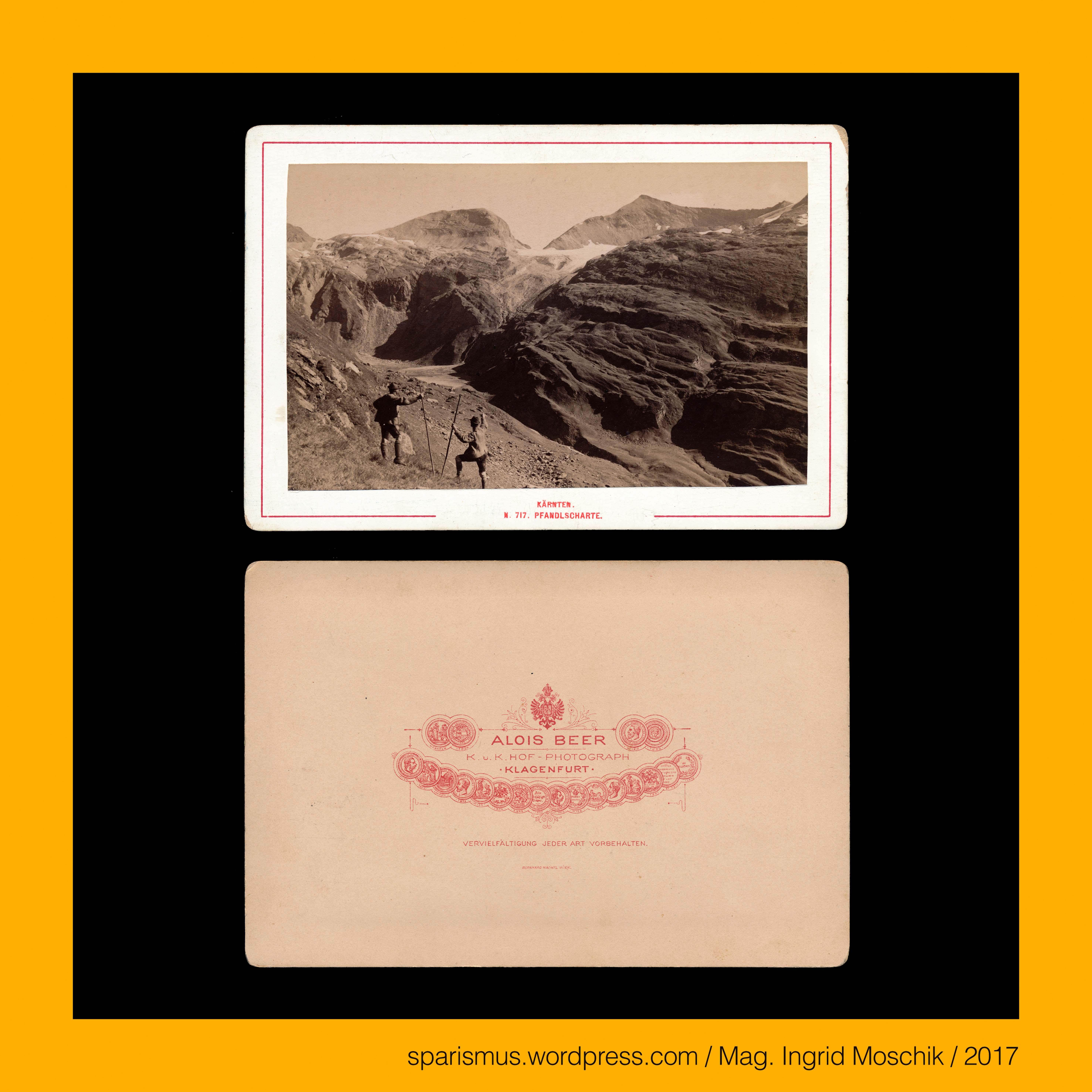 Alois Beer in Klagenfurt cc 717 1885 Pfandlscharte Hohe Tauern Glocknergruppe zwei Wanderer im Vordergrund