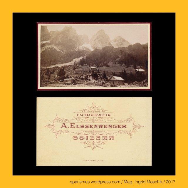"""A. ELSENWENGER, A. ELSSENWENGER, Alois Elsenwenger = Alois Elßenwenger = Alois Elssenwenger, Alois Elsenwenger (1830 Goisern – 1903 Goisern) – Buchbinder und Fotograf im Salzkammergut von etwa 1863 bis 1880er, Elsenwenger = Elssenwenger = Elßenwenger – """"der vom Erlengrund"""" – ahd. alizo """"Erle Eller Elsen"""" + ahd. weng """"(eingehegte) Wiese"""", Oberösterreich – Salzkammergut - Gosau – Die drei Gosauseen – Vorderer Gosausee – Gosaulacke – Hinterer Gosausee, Oberösterreich – Salzkammergut – Gosau – Vorderer Gosausee – 933 m ü.A. liegender Gletscherrückzugsee der letzten Eiszeit, Oberösterreich – Goisern = Bad Goisern am Hallstätter See, Oberösterreich – Bad Goisern am Hallstätter See – circa 7500 Einwohner zählende Gemeinde an der Traun im Salzkammergut, Oberösterreich – Goisern – Geusarn (um 1325) - Gebisharn (13. Jh.) – ahd. gebiza """"Gebse Schüssel Schale flaches Gefäss"""", Oberösterreich – Goisern – Etymologie 1 """"Ort eines Talmulden-Bewohners"""", Oberösterreich – Goisern – Etymologie 2 """"Ort eines Holzmulden-Erzeugers"""", Gosau – Etymologie 1 gos + a(ch) """"Gussbach Sturzbach""""-  fluminis Gosach (1231) – Gosa (1261) – idg. *gheus- *ghus- """"giessen"""" + idg. *akh- ekh- """"Wasser"""", Gosau – Erschliessung des waldreichen Salzkammerguts entlang des Gosaubachs durch Mönche des Stiftes St. Peter in Salzburg (1231), Gosaubach – links- bzw. westseitiger Zufluss des Hallstätter See, Gosautal – links- bzw. westseitige Einkerbung in das Hallstätter-See-Becken, Gosaumühle – links- bzw. westseitige Einmündung des Gosaubaches in den Hallstätter See, Gosauzwang – mit """"Zwang"""" zu überbrückender Verlauf der Soleleitung von Hallstatt nach Ischl und Ebensee (um 1600 bis 1775), Gosaubrücke = Gosauzwang-Brücke (1775 bis heute), Gosauschlucht, Gosaugraben, The Austrian Federal Chancellery, Bundeskanzleramt Österreich, BKA, Ballhausplatz 2, Sparismus, Sparen ist muss,  Sparism, sparing is must Art goes politics, Zensurismus, Zensur muss sein, Censorship is must, Mag. Ingrid Moschik, Mündelkünstlerin, ward artist"""