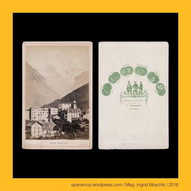 """Florentin Charnaux = Joseph Florentin Charnaux (1819-1883), F. CHARNAUX – GENEVE, Florentin Charnaux – Geneve – Place de Bel-Air – Maison des Trois Rois (1857 bis 1881), Florentin Charnaux (1819-1883 Geneve) – Schweizer Kunsthändler und Fotounternehmer, Charnaux frères Cie – Geneve (1880s), Charnaux = Charneaux = Charny """"boucher butcher Fleischer Fleischhändler"""", Charnaux = Charneaux = Charny – Latin caro carnis """"meat flesh"""" – PIE *(s)ker- *(s)kar- """"to cut shear sharp scheren scharf"""", Schweiz – Kanton Bern – Interlaken = Aarmühle (bis 1891), Schweiz – Kanton Bern – Interlaken – Gemeinde auf dem Bödele = Schwemmebene der Aare, Schweiz – Berner Oberland - Interlaken, Schweiz – Berner Oberland - Interlaken – circa 5700 Einwohner zählende Gemeinde zwischen Thunersee und Brienzersee, Schweiz – Berner Oberland - Interlaken - lateinisch """"Inter Lacus = zwischen den Seen gelegen"""", Schweiz – Brünigpass, Schweiz – Brünigpass verbindet das Berner Oberland im Kanton Bern mit dem Kanton Obwalden in der Innerschweiz, Schweiz – Brünigpass – bis 1008 m ü.M. verlaufene Brünigstrasse , Schweiz – Brünigpass – seit 1888 fertiggestellte Brünigbahn, Schweiz – Brünigpass – Brünig – Brünigen – Etymologie """"braun, das Braune"""" – PIE *bher- """"rötlich schimmernd"""" – Brauner Biber bringen brown brun, Schweiz – Kanton Bern – Thun – circa 44.000 Einwohner zählende Stadt am Ausfluss der Aare aus dem Thunersee, Schweiz – Kanton Bern – Thun – """"Umzäunte"""" - Etymologie keltisch dunon """"Palisadenwerk Befestigung """" – Zaun town Dun Doon, Schweiz – Kanton Bern – Thun – Thunersee – Schadau, Schweiz – Kanton Bern – Thun – Thunersee – Schadau – Etymologie 1 """"Au der Schaden bringenden Aare"""", Schweiz – Kanton Bern – Thun – Thunersee – Schadau – Etymologie 2 – """"Au als heiliger Ort"""" - hebräisch sadeh """"heilig(er Ort)"""", Schweiz – Kanton Bern – Thun – Thunersee – Schadaugut (bis 1846), Schweiz – Kanton Bern – Thun – Thunersee – Schadaupark, Schweiz – Kanton Bern – Thun – Thunersee – Schadauschloss, Schweiz – Kanton Bern """