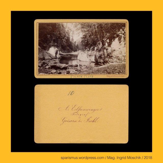 """A. ELSENWENGER, A. ELSSENWENGER, Alois Elsenwenger = Alois Elßenwenger = Alois Elssenwenger, Alois Elsenwenger (1830 Goisern – 1903 Goisern) – Buchbinder und Fotograf im Salzkammergut von etwa 1863 bis 1880er, Elsenwenger = Elssenwenger = Elßenwenger – """"der vom Erlengrund"""" – ahd. alizo """"Erle Eller Elsen"""" + ahd. weng """"(eingehegte) Wiese"""", Oberösterreich – Salzkammergut – Pollak-Platzl – Malerwinkel des Herrn Pollak, Oberösterreich – Salzkammergut – Pollak-Platz = Polack-Platz in der Gosau am Fusse des Dachsteins, Oberösterreich – Salzkammergut – Wilhelm Johann Pollak (1802 Wien – 1860 Wein) – österreichischer Landschaftsmaler, Wilhelm Johann Pollak (1802 Wien – 1860 Wein) – österreichischer Landschaftsmaler, Oberösterreich – Salzkammergut – Salzberg-Hochtal bei Hallstatt, Oberösterreich – Salzkammergut – Plassen = Plassenstein – Plassengruppe, Oberösterreich – Salzkammergut – Plassen – 1953 m hoher Hausberg von Hallstatt, Oberösterreich – Salzkammergut – Plassen – Blassen – """"Berg von blassem Gestein"""" - Etymologie 1 idg. *bhel- """"weiss"""" – blass Blesse bleich fahl pale pallido, Oberösterreich – Salzkammergut - Gosau – Die drei Gosauseen – Vorderer Gosausee – Gosaulacke – Hinterer Gosausee, Oberösterreich – Salzkammergut – Gosau – Vorderer Gosausee – 933 m ü.A. liegender Gletscherrückzugsee der letzten Eiszeit, Oberösterreich – Goisern = Bad Goisern am Hallstätter See, Oberösterreich – Bad Goisern am Hallstätter See – circa 7500 Einwohner zählende Gemeinde an der Traun im Salzkammergut, Oberösterreich – Goisern – Geusarn (um 1325) - Gebisharn (13. Jh.) – ahd. gebiza """"Gebse Schüssel Schale flaches Gefäss"""", Oberösterreich – Goisern – Etymologie 1 """"Ort eines Talmulden-Bewohners"""", Oberösterreich – Goisern – Etymologie 2 """"Ort eines Holzmulden-Erzeugers"""", Gosau – Etymologie 1 gos + a(ch) """"Gussbach Sturzbach""""-  fluminis Gosach (1231) – Gosa (1261) – idg. *gheus- *ghus- """"giessen"""" + idg. *akh- ekh- """"Wasser"""", Gosau – Erschliessung des waldreichen Salzkammerguts entlang des Gosauba"""