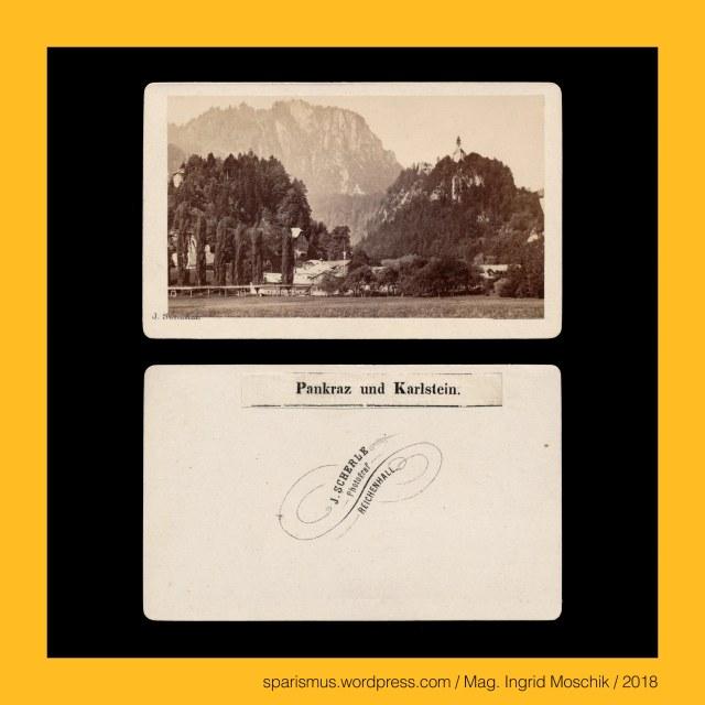 """J. Scherle = Joh. Scherle = Johann Scherle, Johann Scherle – Photograph in (Bad) Reichenhall in den 1860-70ern, Johann Scherle - """"J. SCHERLE – Photograf - REICHENHALL"""" (um 1868), Johann Scherle – Photograph in Bad Krankenheil-Tölz in den 1870ern, Johann Scherle – """"JOHANN SCHERLE – Herzogl. Sächs. Coburg-Gotha'scher Hofphotograph – BAD KRANKENHEIL-TÖLZ"""" (um 1875), Scherle – Scherl – Scharl - Schar Scharr Schaar Scheer – """"Scharsoldat"""" Etymologie 1 mdh. schar – ahd. scar(a) """"Schar Heeresabteilung Gruppierung Gruppe"""" – PIE (s)ker- """"scheren schaben schneiden share skarein"""", Scherle – Scherl – Scharl - Schar Scharr Schaar Scheer – """"Pflüger Fronwerker"""" - Etymologie 2 mdh. schar – ahd. scar(a) """"Pflugschar Schneide-Eisen"""" – PIE (s)ker- """"scheren schaben schneiden share skarein"""", Scherle – Scherl – Scharl - Schar Scharr Schaar Scheer – """"Wollscherer"""" - Etymologie 3 mdh. schar – ahd. scar(a) """"Schafschere Schneide-Eisen"""" – PIE (s)ker- """"scheren schaben schneiden share skarein"""", Scherle – Scherl – Scharl - Schar Scharr Schaar Scheer – """"Kastrierer Schweinescheider"""" - Etymologie 4 mdh. schar – ahd. scar(a) """"Schafschere Schneide-Eisen"""" – PIE (s)ker- """"scheren schaben schneiden share skarein"""", Bad Reichenhall – Karlstein, Bad Reichenhall – Karlstein – bis 1978 selbständige Gemeinde mit knapp 3500 Einwohnern zwischen Thumsee und Saalach, Bad Reichenhall – Karlstein – Pankrazkirche = Wallfahrtskirche St. Pankraz (1689 bis heute), Pankraz – Heilige Pankratius (um 290 Phrygien – 304 Rom) """"Der alles Beherschende"""" - Etymologie gr. pan """"alles allumfassend"""" + gr. kratos """"Kraft Herrscher"""", Mag. Ingrid Moschik – Spurensicherung """"IM NAMEN DER REPUBLIK"""", Dr. Timm Starl (*1939 Wien - ) - österreichischer Kulturwissenschaftler Fotohistoriker Ausstellungskurator FOTOGESCHICHTE-Gründer"""