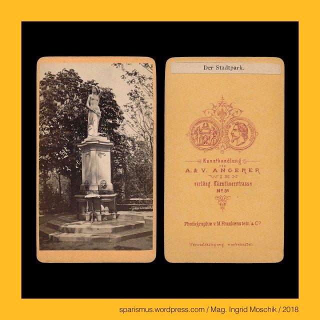 """Angerer – """"Bewohner eines Angerdorfs"""" – ahd. angar - germ. vangar """"Dorf mit begrastem Land an Flussbiegung"""" – idg. *ang- """"biegen krümmen"""", August Angerer – Wiener Kunst- und Fotohändler (circa 1865 bis circa 1875), August Angerer – """"A. & Victor Angerer"""" - Wiener Kunst- und Fotohändler (circa 1865 bis circa 1875), August Angerer (? - ?) – Bruder von Ludwig und Victor Angerer, V. ANGERER, Victor Angerer = Viktor Angerer, Victor Angerer Wien, Victor Angerer Ischl, Viktor Angerer (1839 Malaczka – 1894 Wien) – Wiener Photograph und Foto-Unternehmer, Victor Angerer (1839 Malaczka – 1894 Wien) – Wiener Photograph und Foto-Unternehmer, Victor Angerer – Wien – Wieden – Theresianumgasse 4 (1871 bis circa 1900), Wien – 1. Bezirk = Innere Stadt – Stadtpark – Donauweibchenbrunnen, Wien – 1. Bezirk = Innere Stadt – Stadtpark – Donauweibchenbrunnen (1865 bis heute), Wien – 1. Bezirk = Innere Stadt – Stadtpark – von Hanns Gasser (1817 Eisentratten – 1868 Budapest) gefertigte Marmorstatue """"Donauweibchen"""", Wien – 3. Bezirk = Landstrasse – Arsenal, Wien – 3. Bezirk = Landstrasse – Arsenal - auf dem Areal """"Arsenalstrasse – Ghegagasse 1 – Lilienthalgasse 2"""" gelegene Gebäudekomplex, Wien – 3. Bezirk = Landstrasse – k.k. Arsenal = k.u.k. Arsenal, Wien – 10. Bezirk = Favoriten – k.k. Arsenal - 1849-56 auf dem bis 256 m ü.A. hohen Laaer Berg errichtete k.k. Artillerie-Kaserne, Wien – 3. Bezirk = Landstrasse – Arsenal-Komplex (1856 bis heute), Wien – 2. Bezirk = Leopoldstadt – Praterstrasse (1862 bis heute) – Jägerzeile (bis 1862), Wien – 1. Bezirk = Innere Stadt – Canalettoblick = Wiener Canaletto-Blick, Wien – 1. Bezirk = Innere Stadt – Canalettoblick – Blick vom Oberen Belvedere auf die Innere Stadt von Wien, Bernardo Belllotto – genannt Canaletto (1721 oder 1722 Venedig – 1780 Warschau) – venezianischer Vedutenmaler – Italien – Wien – Dresden, Wien – 1. Bezirk = Innere Stadt – Burggarten, Wien – 1. Bezirk = Innere Stadt – Burggarten (seit 1919) – Garten der Republik (1919) – Kaisergarten"""